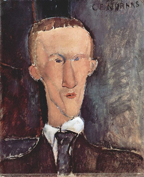 Blaise Cendrars' portrait by Amadeo Modigliani (1917)