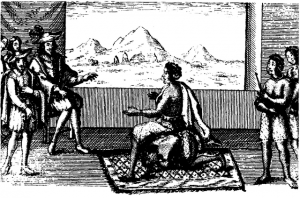 Queen Nzinga in peace negotiations with the Portuguese governor in Luanda, 1657