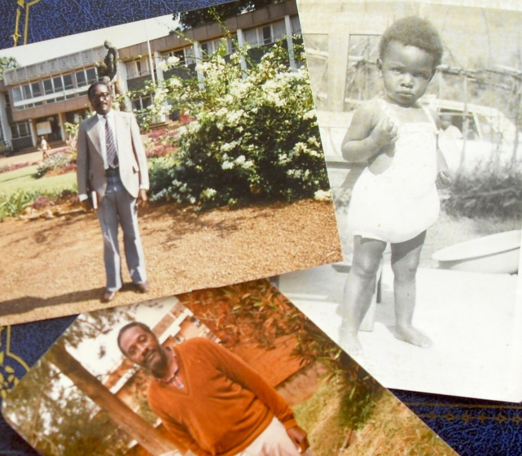 In our young days. Baby me clearly with attitude, Dad in Kyambogo upgrading.