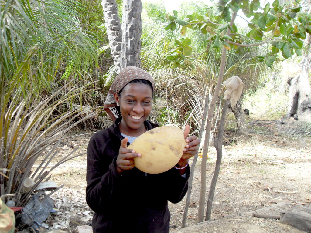 Yours truly drinking up a calabash of fresh palm-wine