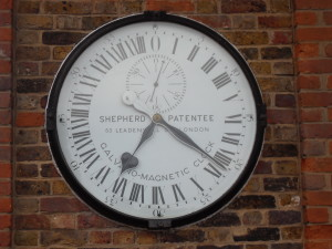 I took this picture in 2008 when I visited the home of time. Charles Shepherd, a pioneer of the electrical distribution of time supplied this clock to Greenwich in 1852, where it has remained since, at the entrance to the observatory.