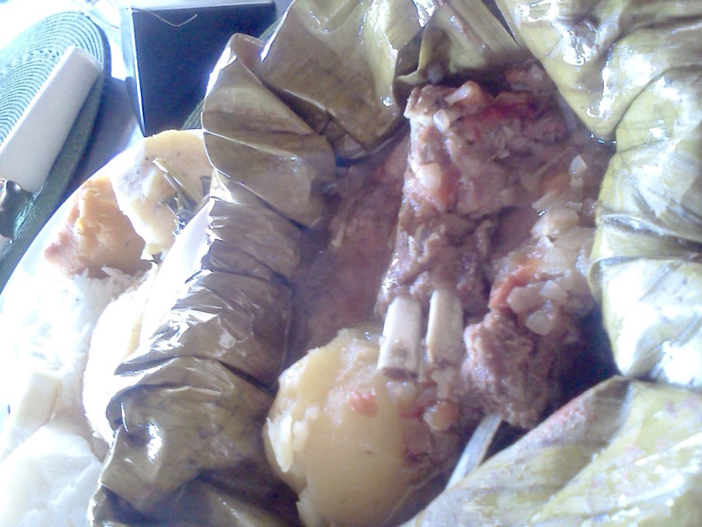 goat stew cooked in banana leaves